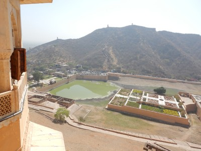 The Saffron Garden in Maota Lake whose plants are said to have been planted by a maharaja in the 15th century; there were pigs along the shores with the lake level low due to dry season