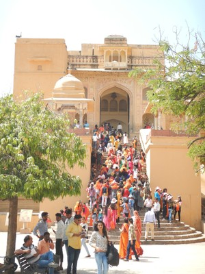 The Lion Gate at the Amber Fort, aka Amer Fort, was one of the few places we have seen foreign tourists; our local guide explained the history of the fort but it was too much information
