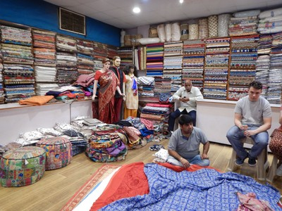 Jaipur is a textile center and we saw men block printing at this facility; the clothes were affordable and looked very comfortable so our group made many purchases