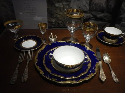 Complete plate setting of Cash family china; Cash was friends with every president starting with Nixon; he was especially close to President Carter who was distantly related to June Carter
