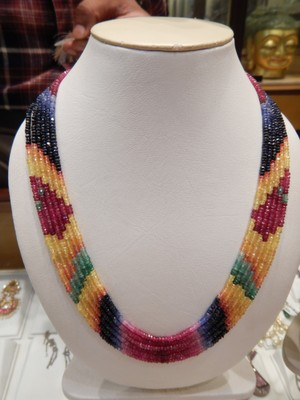 Jaipur is a center of gem cutting and jewelry manufacturing so we visited to see how pieces were made; I bought this necklace (rubies, emeralds, yellow and blue sapphires) for my mom