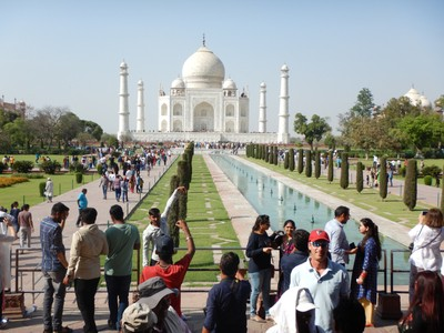 The most spectacular feature of the Taj Mahal is the marble dome that surmounts the tomb; the dome is nearly 35 m high which is close in measurement to the length of the base
