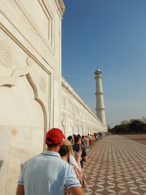 We happened to visit on the one day each year when you can go down in the Taj Mahal to see the actual tombs; after waiting in the heat for over an hour the actual sight was underwhelming