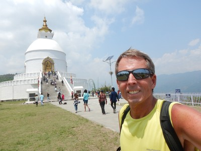 The World Peace Pagoda, at 1100 meters, looks out over all of Pokhara; it was built in 1973 and is one of 80 peace pagodas in the world