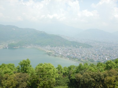 The view of Pokhara and Fewa Lake from the World Peace Pagoda; Pokhara is the second most populated city in Nepal with 600,000 people and lies 200 kms west of Kathmandu