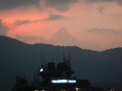 I was amazed to see Annapurna at sunset after a rainstorm; Annapurna is the most dangerous mountain in the world for climbers