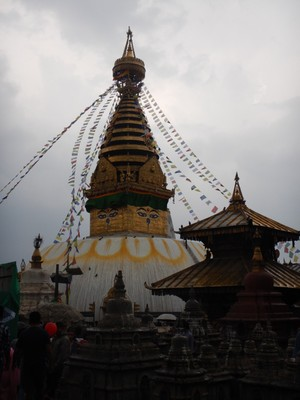 There were thunderstorms every day we were in Kathmandu including when we visited the Swayambhunath Temple; fortunately, we didn't climb the 365 steps to reach the temple