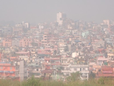 With the smog and haze in Kathmandu, you'd never realize that the Himalayas are so close; 8 of the 10 highest mountains in the world are in Nepal