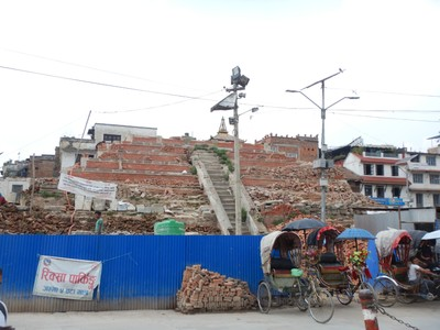 So many temples in Durbar Square, like the Maju Dega Temple, were destroyed in the 2015 earthquake and still haven't been rebuilt; the city has allocated $500,000 to restore the temple by October 2020