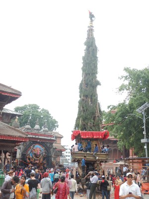 This large, tree-like structure was built for a special celebration and was to be wheeled through the city; the Kathmandu valley is home to 5  million people and stands at 1400 m above sea level