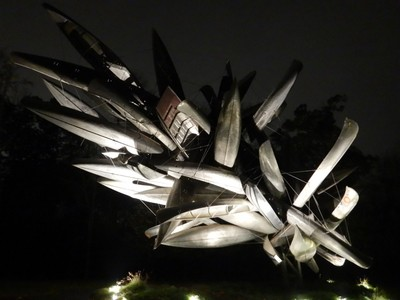 Monochrome II, Nancy Rubins, 2018; the artist taught at UCLA from 1982-2004 where she became known for her huge installations made from metal industrial parts later morphing into airplanes and boats