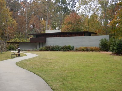 The Bachman-Winston House, Frank Lloyd Wright, 1953; this house was built in NJ but was threatened by frequent floods so it was sold to Crystal Bridges and meticulously taken apart and reassembled