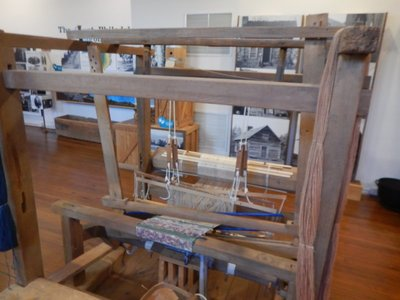 Barnyard loom from the mid 1800s; in remote, rural areas these looms stayed in service much longer than in areas that developed more quickly