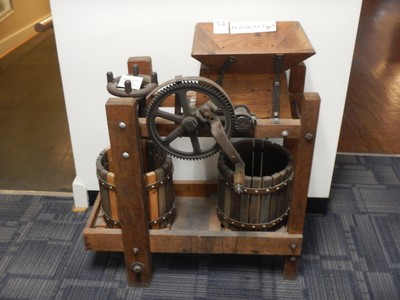 Early 1900s cider press; the museum also had a replica general store and a 70 ft scale model railroad