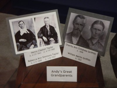 I'm amazed that photos exist of Andy Griffith's great-grandparents from the mid 1800s; you can see where Andy got his character's name from