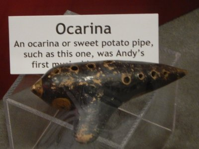 Andy Griffith's first musical instrument was an ocarina; had never heard of such a thing before but see similarities with later instruments