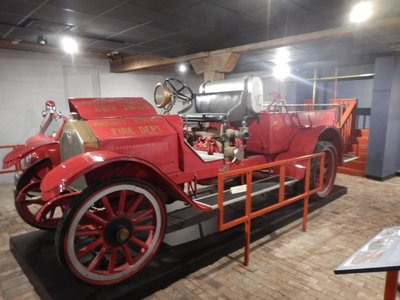 This 1917 American La France fire engine was Mount Airy's first; three early fire engines are on display in the basement of the museum
