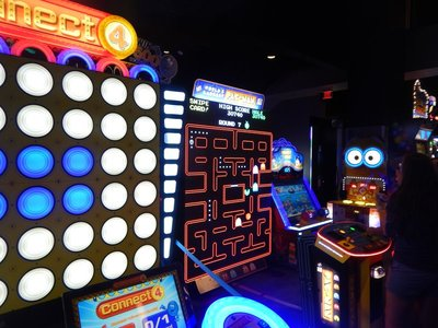 Harrah's has added an amusement center with games like the world's largest Pac-Man game and a bowling center