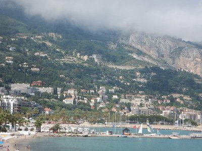 A view from Menton looking east towards Italy; many Italians cross the border every day to work in France