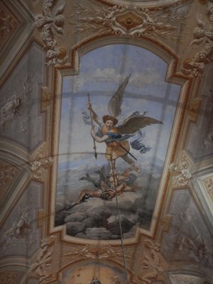 The frescoes on the ceiling of Saint Michel's Basilica were stunning; every surface of the church was painted