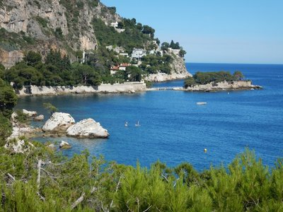 I'd love to have a place on that small island!; the water felt terrific after hiking down from Eze village