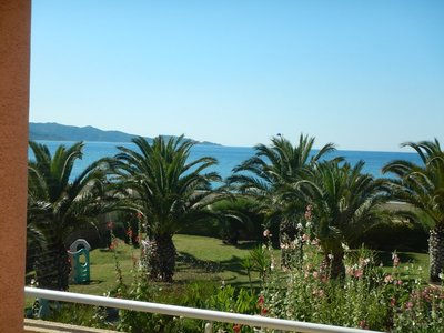 Nice view from my hotel balcony; the drive around Cap Corse was on a road with thousands of hairpin turns