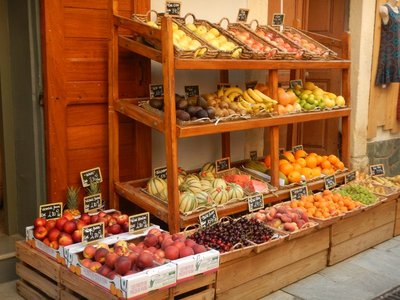 French produce stores are commonplace with the fruits and vegetables always attractively displayed; I even bought some bananas and apples