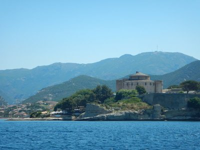 Saint Florent is on the western side of the Cap Corse peninsula while Bastia is on the east side; they are only about 15 miles apart