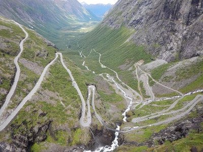 Crazy Etch-a-sketch road from valley up to waterfall