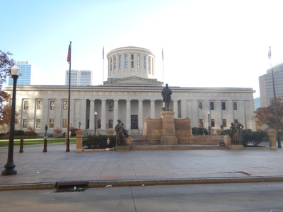 Built between 1839 and 1861, the Ohio statehouse is one of the oldest working capitol buildings in the United States; in the foreground is the William McKinley Monument, which honors and remembers the Ohio governor and 25th U.S. president