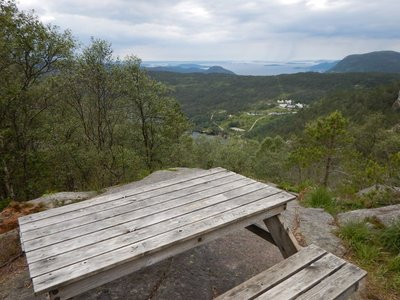 Major effort to assemble picnic table up here; typical Norwegian special touch to enjoy scenery