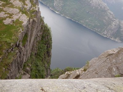 Almost there and maybe I shouldn't have looked over the edge; cliff goes straight down almost 2000 ft to the Lysefjord