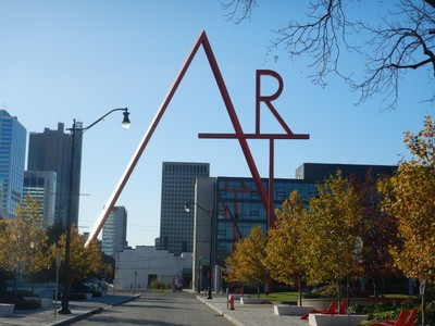 This sleek, 100 ft high, cherry-red installation bridges the street behind the Columbus Museum of Art; a student at the nearby Columbus College of Art and Design had originally joked about the school needing a giant ART sign which led to this piece
