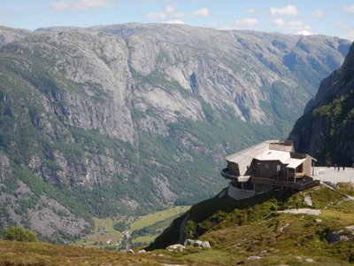 Up the first hill; restaurant has panoramic view of Lysebotn, the glacial valley and the Lysefjord