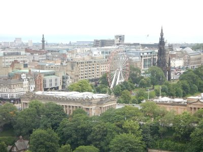 Princes Street Gardens separates Castle Hill and the Old Town from the New Town; the entire area is a UNESCO World Heritage Site