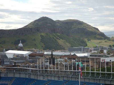 Salisbury Crags and Arthur's Seat seen from Castle Hill; city built on remnants of ancient volcano