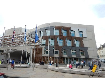 Scottish Parliament building (2004); British parliament granted more Scottish self-rule in 1997