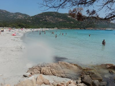 The turquoise waters and fine sand make this beach stand out on Corsica; the water stays shallow far into the bay so there were tons of little kids enjoying a day at the beach
