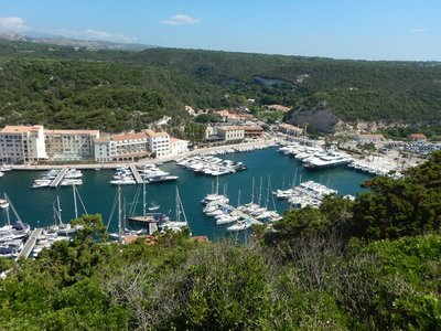 Bonifacio lies on the only major harbor on Corsica's southern coast; the population of the town peaked at 4200 in 1901