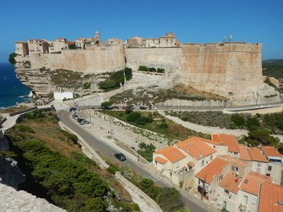 The fortifications of Bonifacio occupy a finger-like promontory 1500 meters long and 200 meters wide; the citadel was built in the 9th century and rebuilt many times