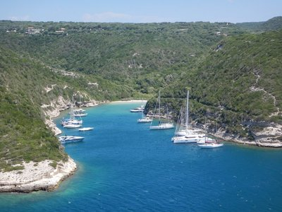 What a gorgeous cove!; this inlet is off the main Bonificio harbor and a great place to avoid the crowds and escape the winds