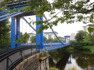 1855 St. Andrew's suspension bridge across the River Clyde; in 1992 Michael Jackson performed here on the Glasgow Green in front of 65000 fans