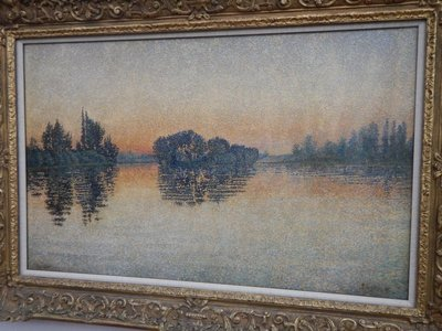 My favorite painting from the Kelvingrove, Sunset 1889, by Paul Signac; with Seurat, Signac helped develop the Pointillist style