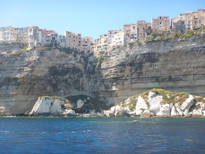 These houses look out across the Straits of Bonafacio toward Sardinia; with islands in the Straits it's quite a scenic view