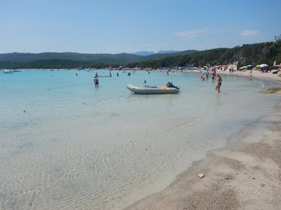 Santa Giulia; the southern part of Corsica has pretty, sandy beaches compared to the rocky beaches on the west coast