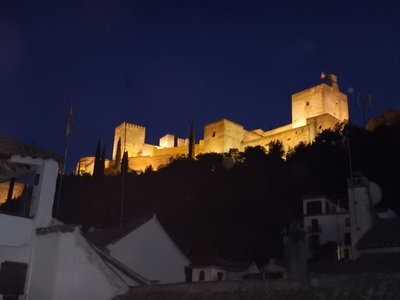 View of the Alhambra from our apartment; special tours of the Alhambra at night are available