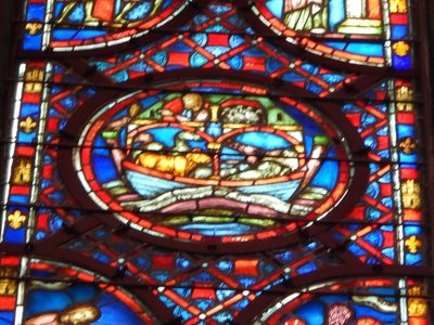 There are 1113 scenes from the Bible depicted in stained glass at Saint-Chapelle including this one showing Noah and his ark; the 15 windows are each 15 meters high