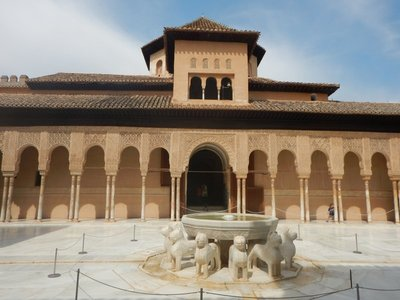 Courtyard of the Lions (35m by 20m) was built at the height of Granada's power in the second half of the 14th century; the courtyard is surrounded by 124 white marble columns