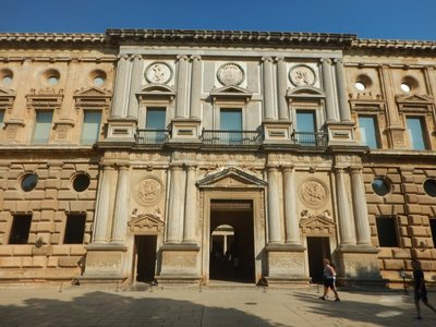 Palace of Carlos V features a circular courtyard inside a 56 foot high, 217 foot long square; with no precedent in Renaissance architecture it was considered very avant-garde