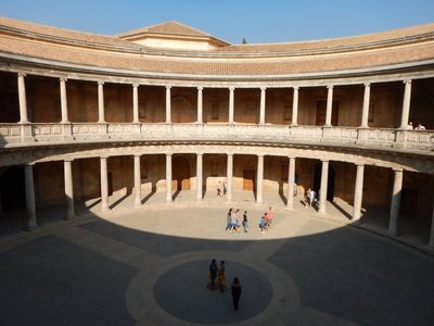 The Renaissance Palace of Carlos V was added to the Alhambra in 1527; parts of the Moorish complex were torn down to make room for this Christian addition